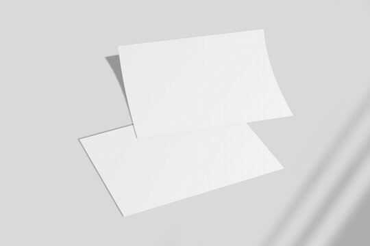 Realistic blank A4 landscape flyer brochure for mockup. Paper or poster illustration with shadow overlay. 3D Render.