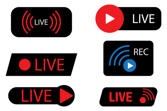 Live icons on black background. Online stream sign. Internet broadcast.  Live webinar button. Stock image. EPS 10.