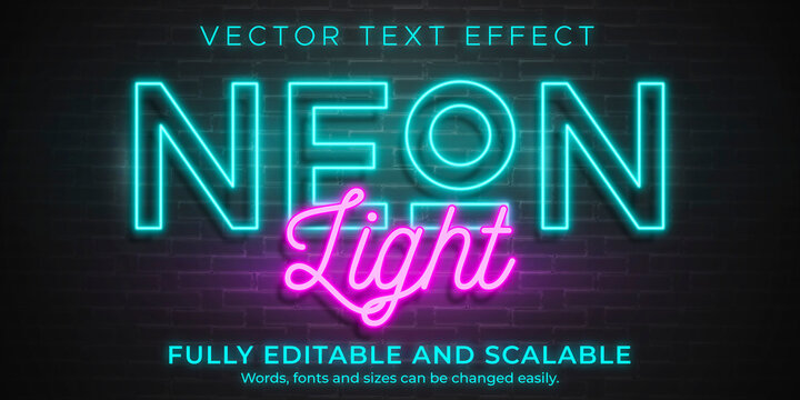 Neon light text effect, editable retro and glowing text style