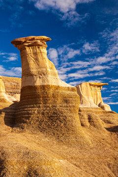 Hoodoos, a geologic formation on a bright day in the badlands near Drumheller, Alberta, Canada