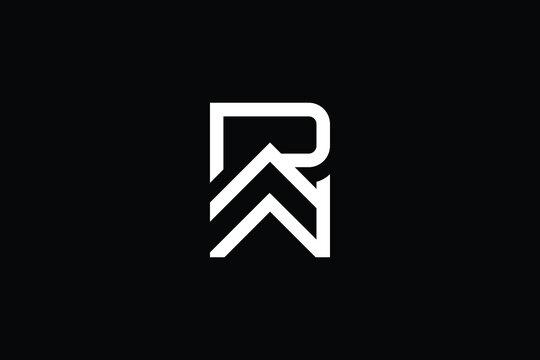 WR logo letter design on luxury background. RW logo monogram initials letter concept. WR icon logo design. RW elegant and Professional letter icon design on black background. W R RW WR