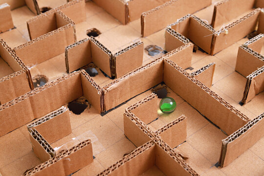 High Angle View Of Cardboard Maze