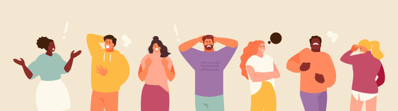 People experiencing stress and anger. Negative emotions and frustration vector illustration