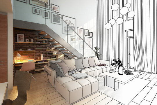 Contemporary Penthouse Mansarde with Stairs (planning) - 3d visualization