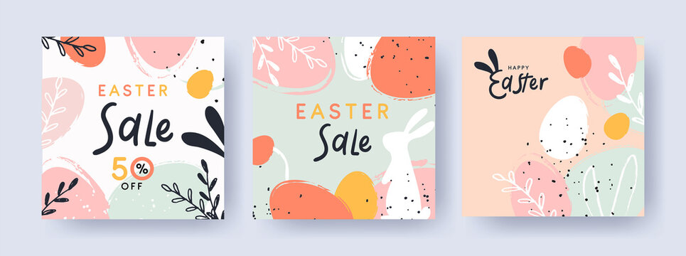 Happy Easter Set of banners, greeting cards, sale posters, holiday covers. Trendy design with typography, hand painted plants, dots, eggs and bunny, in pastel colors. Modern art minimalist style.