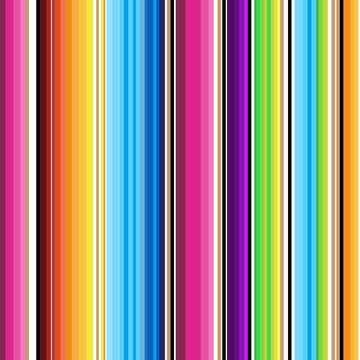 Serape seamless pattern of multicolored stripes in Mexican traditional style. Bright vibrant stripes in green red orange blue colors for textile wrapping paper wallpaper cinco de maya ethnic carnivals