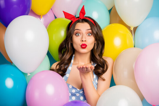 Close up photo of flirty funky romantic charming girl celebrate 14-february date send air kiss to her sweetheart wear dress red tank-top isolated on air balls baloons background