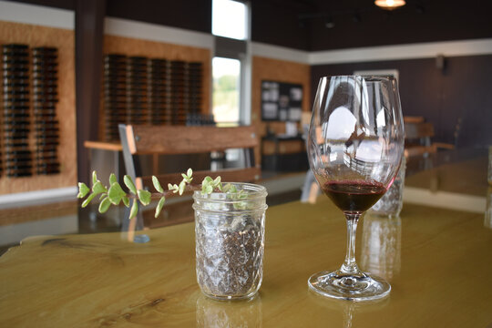 Closeup shot of a glass of red wine with a glass jar succulent on a wooden table