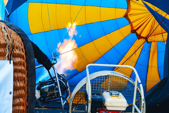 Close up of hot air balloon getting prepared for flight