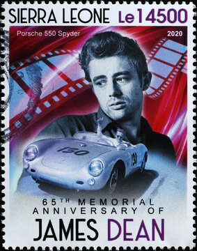 James Dean on a race car in postage stamp