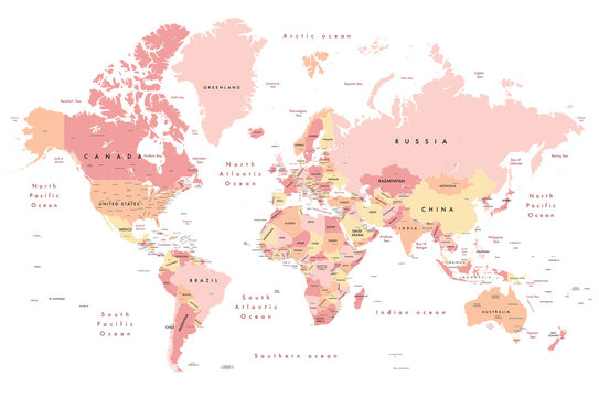"""Colourful Illustration of a world map showing country names, State names (USA, Canada & Australia), capital cities, major lakes and oceans. Print at no less than 36"""""""