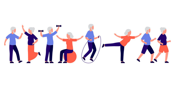 Senior people men and women doing sport, active spending time together on leisure. Old family couple dance, exercise, run. Vector isolated illustration