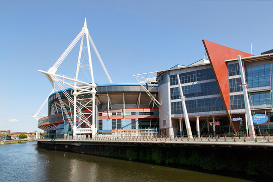 Cardiff, UK: May 24, 2016: The Principality Stadium was formerly known as the Millennium Stadium but changed its name in 2016 for sponsorship purposes. It is the national stadium of Wales.