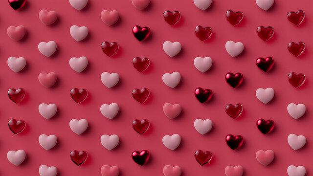 Multicolored Heart background. Valentine Wallpaper with Pink, Red Glass and Red Metallic love hearts. 3D Render