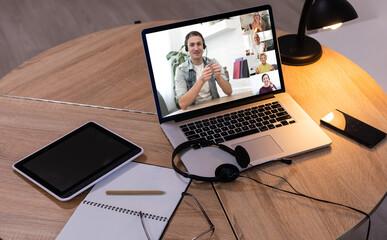 Fototapeta Video Conference Work Webinar Online At Home obraz