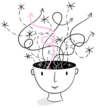 Head Spaces – Black and white line illustration a hand-drawn head with ideas and thoughts raising from its head. Creativity, brainstorming, collaboration, inspiration