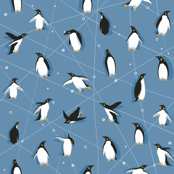 Seamless pattern with little cute penguins skating on blue ice like background