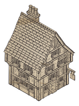 A medieval building map icon isometric illustration in a vintage retro engraved woodcut etching style