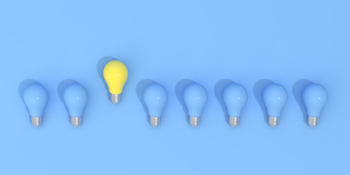 Outstanding of yellow light bulb around blue bulbs , Minimal concept, 3d rendering.