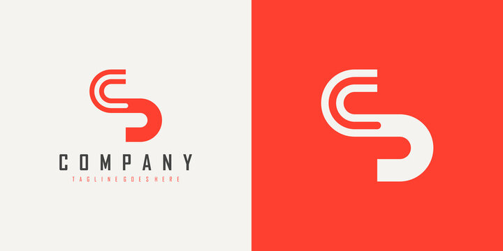 Abstract Initial Letter C and S Linked Logo. White and Red Geometric Line isolated on Double Background. Usable for Business and Branding Logos. Flat Vector Logo Design Template Element.