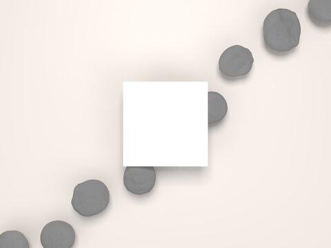 White invitational square card Mockup with pebbles. 4x3 ratio, 6000x4500 size.