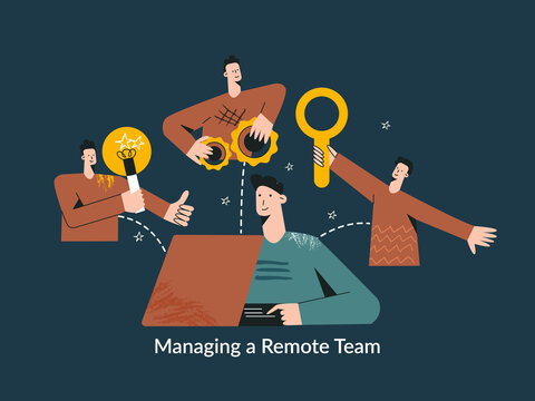 Managing a remote team concept modern flat vector illustration. Global cyberspace, distributed teamwork, collaboration, network, global outsourcing, company remote management