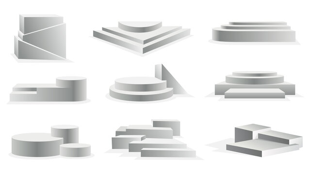 Collection of podium realistic. Showroom pedestals floor stage platforms vector isolated mockup. 3D realistic empty podiums with steps. Concept of showcase for product, promotion sale or presentation