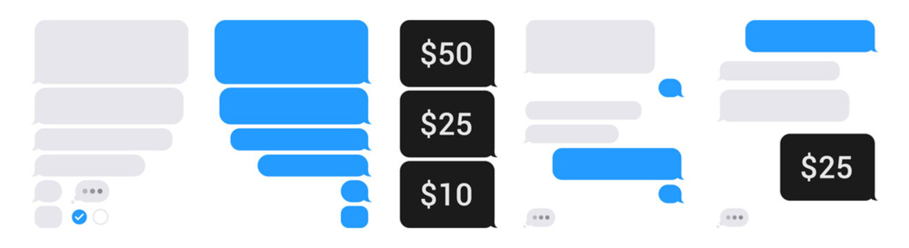 Chat app bubble phone template set. Isolated blank sms dialogue and messages bubbles, on white background. Pay with smartphone sms. Editable vector illustration.