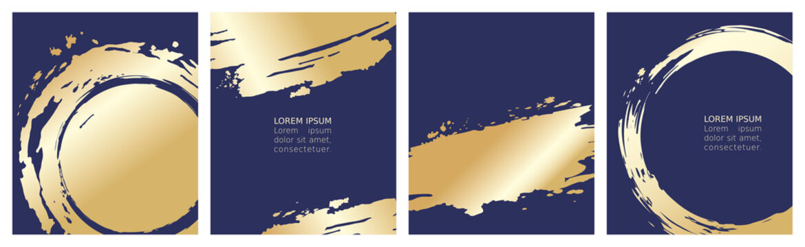 Collection of labels or cards. Vector illustration, set of navy blue backgrounds with gold strokes.