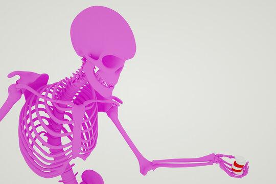 3D rendered pink skeleton holding pills