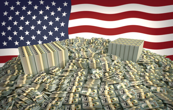 Millions Of Dollars In Front Of The American Flag