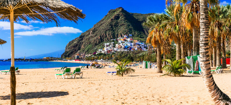 Best Beaches of Tenerife - gold sandy Las Teresitas with scenic San Andres village. Canary islands of Spain