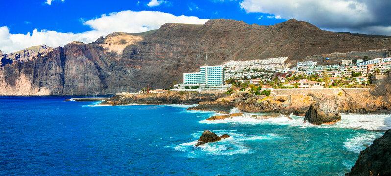 Tenerife island, impressive rocks of Los Gigantes, popular tourist resort in Canary islands