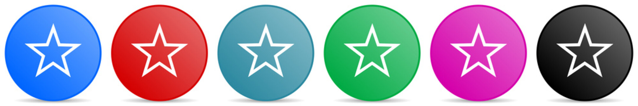 Star vector icons, set of circle gradient buttons in 6 colors options for webdesign and mobile applications