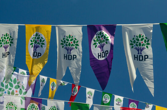 ISTANBUL, TURKEY - Mar 12, 2015: HDP election campaign banners in Turkey