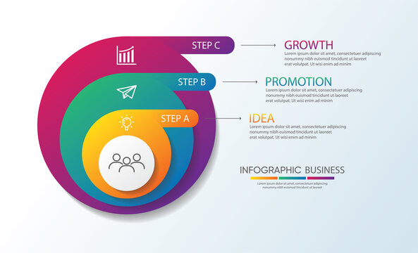 Presentation business infographic circle with 3 step
