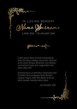 Funeral death notice card template