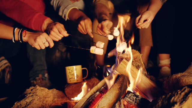Happy Young Group Of Campers Camping In The Woods At Night Roasting Marshmallows And Smiling Close Friendship Tourism Romantic Getaway Concept Slow Motion Shot On Red Epic W