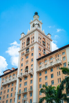 Miami, Florida, United States - July 7 2012: Tower of the Biltmore Hotel Coral Gables. Built in 1926 by Schultze and Weaver in the Mediterranean Rivival Style.