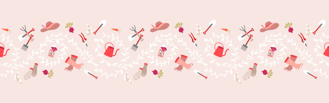 Gardening, garden tools seamless border pattern  Hand drawing cute garden equipment icons background. Watering can, beetroot, hat, rubber boots, hand gloves, fresh foods, seeds pack, leaves