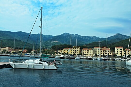 Italy-view on port in town Marciana Marina and town Poggio on the island of Elba