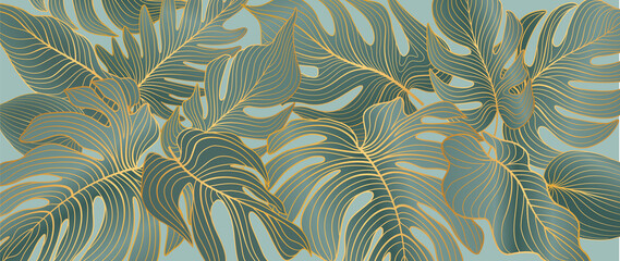 Floral leaves seamless pattern. Foliage garden background. Floral ornamenal tropical nature summer palm leaves decorative retro style wallpaper