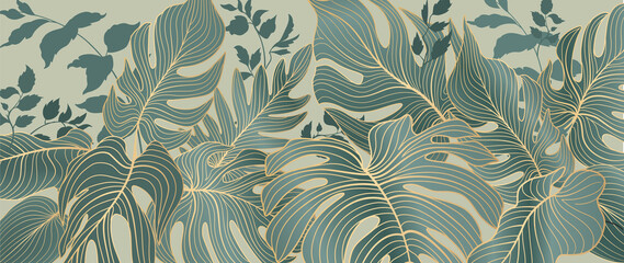 Obraz Floral leaves seamless pattern. Foliage garden background. Floral ornamenal tropical nature summer palm leaves decorative retro style wallpaper - fototapety do salonu