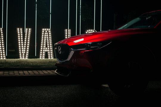 LVIV,UKRAINE - JULY 27, 2018 Mazda CX-5 in low key background