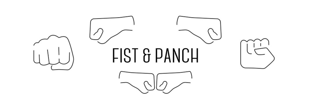 Hand gestures icons: clapping, brofisting and other. Fist bump or punch emoji line set