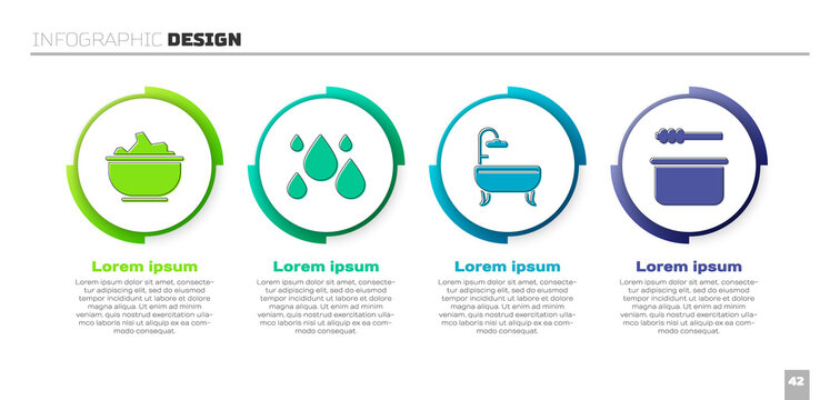 Set Sea salt in a bowl, Water drop, Bathtub and Sauna bucket and ladle. Business infographic template. Vector.