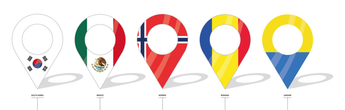 Country flag location sign. South Korea, Mexico, Norway, Romania and Ukraine flag icons. Flags of countries with check-ins. Vector icon of simple forms of point of location.