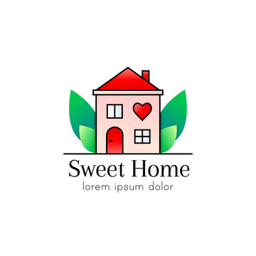 House with heart shape as home sweet home logo, icon or sign concept
