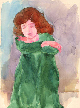 watercolor painting. sad woman. illustration.