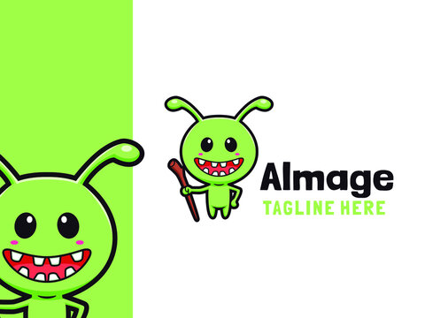 Cartoon cute alien mage character logo